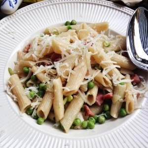 penne with bacon and peas