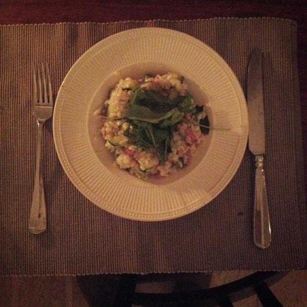 Risotto with bacon and zucchini