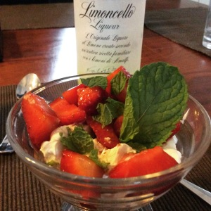 Limoncello with balsamic infused strawberries