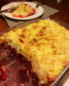 beet and mashed potatoes casserole
